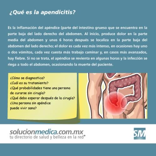 ¿Qué es la apendicitis y cuáles son sus síntomas y su tratamiento?